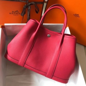 Hermes Garden Party 30 Bag In Rose Red Clemence Leather
