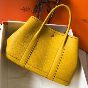 Hermes Garden Party 30 Bag In Yellow Clemence Leather
