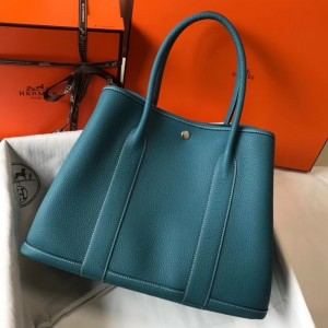 Hermes Garden Party 36 Bag In Blue Jean Clemence Leather
