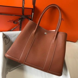 Hermes Garden Party 36 Bag In Gold Clemence Leather
