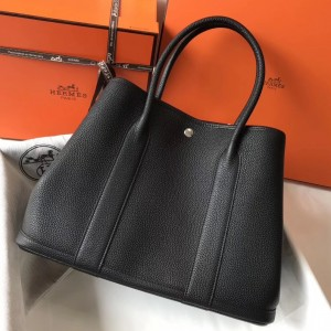 Hermes Garden Party 36 Bag In Black Clemence Leather