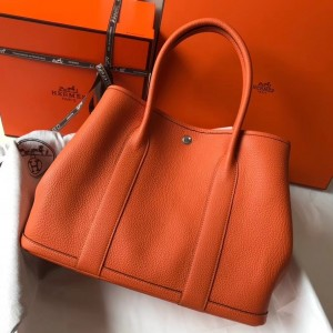 Hermes Garden Party 36 Bag In Orange Clemence Leather