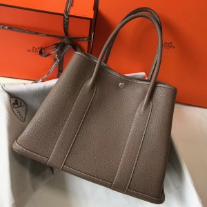 Hermes Garden Party 36 Bag In Taupe Clemence Leather