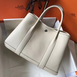 Hermes Garden Party 36 Bag In White Clemence Leather