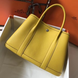 Hermes Garden Party 36 Bag In Yellow Clemence Leather