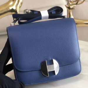 Hermes 2002 20cm Bag In Blue Brighton Evercolor Calfskin
