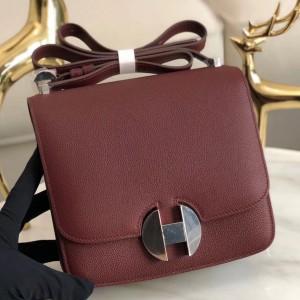 Hermes 2002 20cm Bag In Bordeaux Evercolor Calfskin
