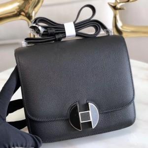 Hermes 2002 20cm Bag In Noir Evercolor Calfskin