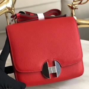 Hermes 2002 20cm Bag In Red Evercolor Calfskin