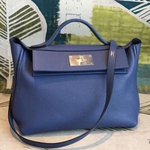 Hermes 24/24 29 Bag In Blue Clemence Calfskin