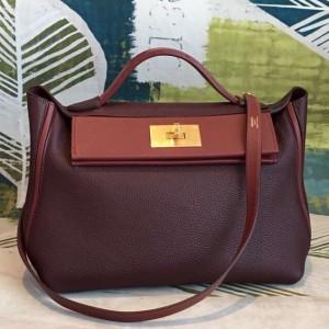 Hermes 24/24 29 Bag In Bordeaux Clemence Calfskin