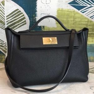Hermes 24/24 29 Bag In Black Clemence Calfskin