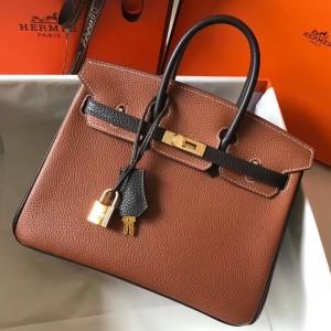 Hermes Bi-Color Birkin 25cm Bag In Brown/Black Clemence Leather
