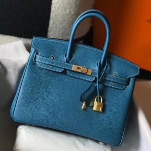 Hermes Birkin 25cm Bag In Blue Jean Clemence Leather