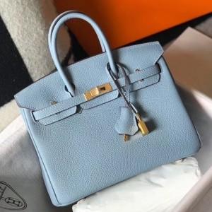 Hermes Birkin 25cm Bag In Blue Lin Clemence Leather