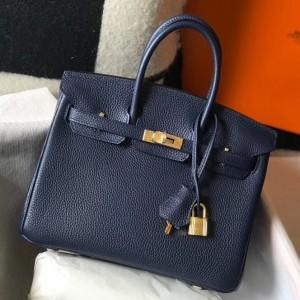 Hermes Birkin 25cm Bag In Navy Blue Clemence Leather