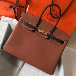 Hermes Bi-Color Birkin 35cm Bag In Brown/Black Clemence Leather