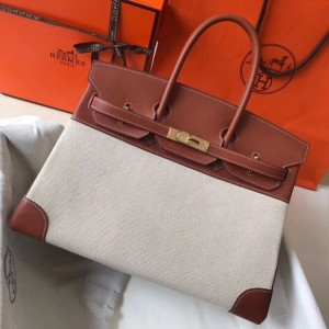 Hermes Canvas Birkin 35cm Bag With Brown Leather