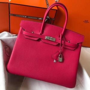 Hermes Rose Red Clemence Birkin 35cm Bag