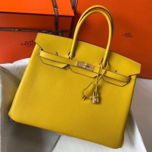 Hermes Yellow Clemence Birkin 35cm Bag