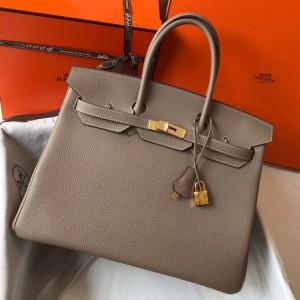 Hermes Grey Clemence Birkin 35cm Bag