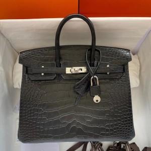 Hermes Black Birkin 25cm Matte Alligator Crocodile Skin Bag