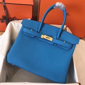 Hermes Blue Zanzibar Birkin 30cm Clemence Handmade Bag