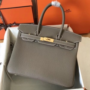 Hermes Etain Birkin 30cm Clemence Handmade Bag