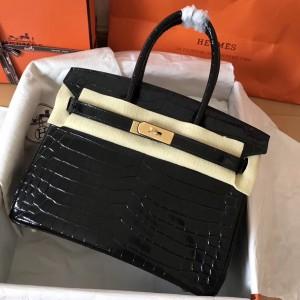 Hermes Black Birkin 30cm Crocodile Porosus Shiny Bag