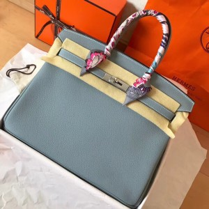 Hermes Blue Lin Birkin 35cm Clemence Handmade Bag