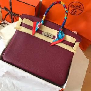 Hermes Bordeaux Birkin 35cm Clemence Handmade Bag