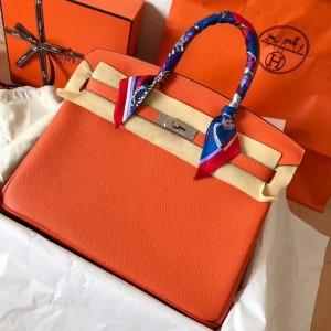 Hermes Orange Birkin 35cm Clemence Handmade Bag