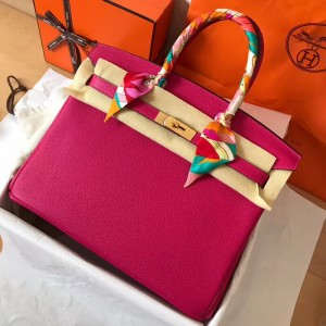 Hermes Peach Birkin 35cm Clemence Handmade Bag