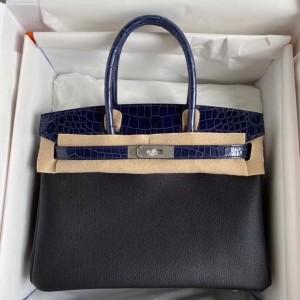 Hermes Noir Touch Birkin 30cm Bag Shiny Niloticus Crocodile Skin