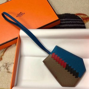 Hermes Clochette Cles Grand Tressage Charm In Taupe/Blue