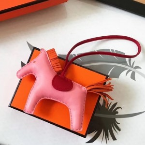 Hermes Rodeo Horse Bag Charm In Pink/Red/Orange Leather