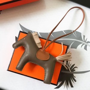 Hermes Rodeo Horse Bag Charm In Taupe/Camarel/Beige Leather