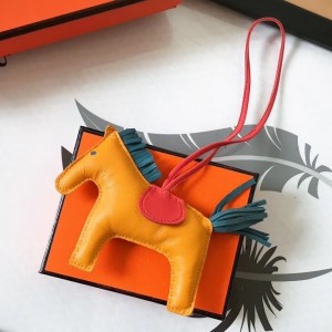 Hermes Rodeo Horse Bag Charm In Yellow/Piment/Green Leather