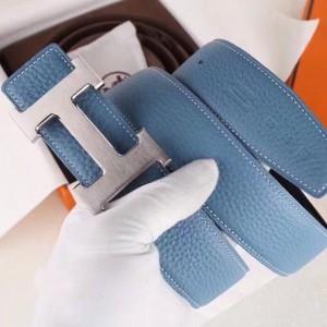 Hermes H Belt Buckle & Blue Clemence 32 MM Strap