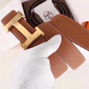 Hermes H Belt Buckle & Brown Clemence 32 MM Strap