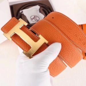 Hermes H Belt Buckle & Orange 32mm Clemence Strap