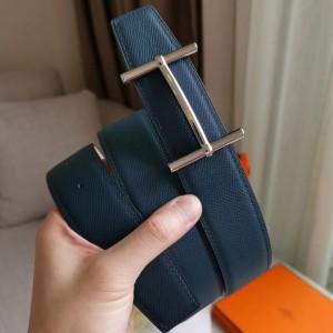 Hermes H d'Ancre Reversible Belt In Blue/White Epsom Leather