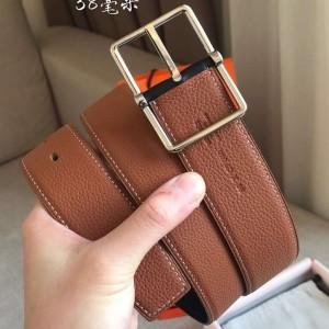 Hermes Brown Saddle 38MM Reversible Belt
