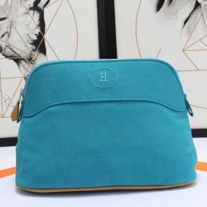 Hermes Medium Bolide Travel Case In Blue Horizon Cotton