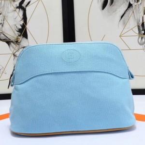 Hermes Medium Bolide Travel Case In Blue Lin Cotton