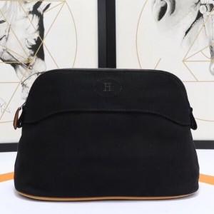 Hermes Medium Bolide Travel Case In Black Cotton