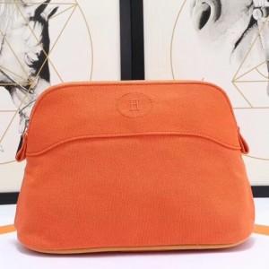Hermes Medium Bolide Travel Case In Orange Cotton