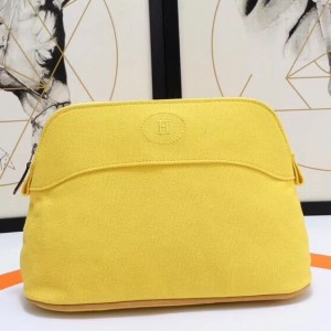 Hermes Medium Bolide Travel Case In Yellow Cotton