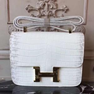 Hermes White Constance MM 24cm Crocodile Bag