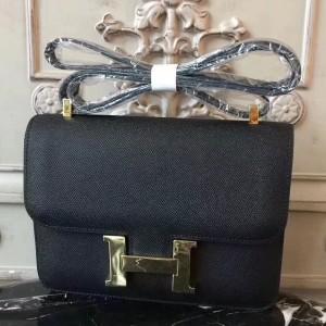 Hermes Black Constance MM 24cm Epsom Leather Bag